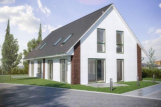 Neubau-Doppelhaushälfte im KfW55-Standard in Schwartbuck